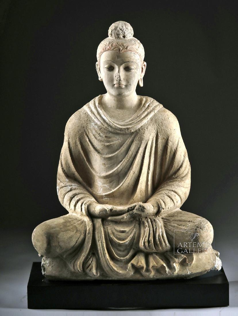 Gorgeous Gandharan Stucco Seated Buddha Shakyamuni