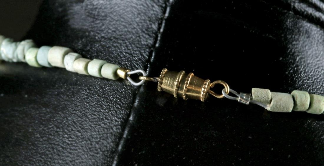 Egyptian Necklace w/ Faience Amulets, Gold Beads - 5