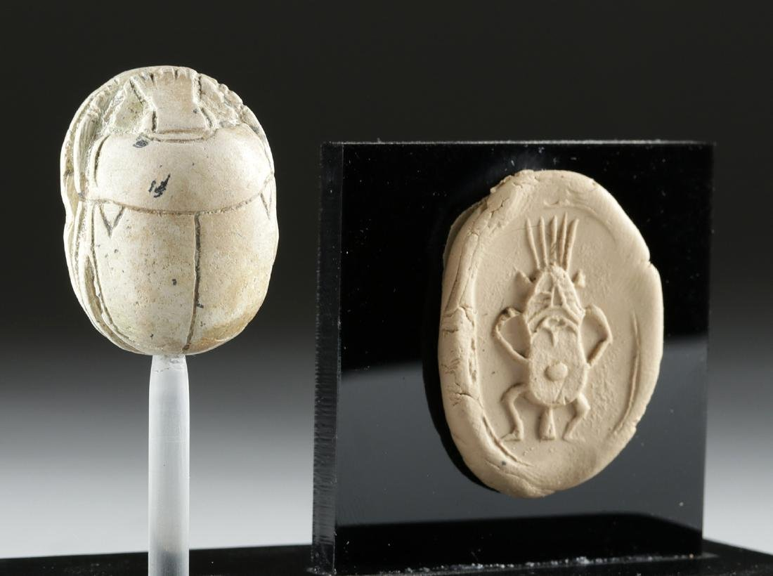 Egyptian Glazed Steatite Scarab Amulet w/ Bes Engraving