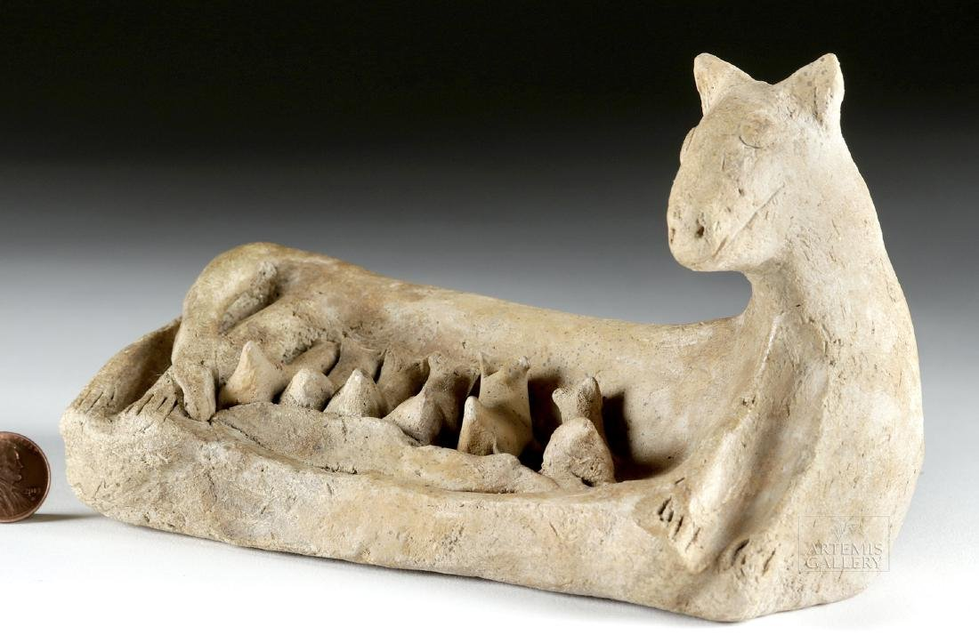 Egyptian Pottery Cat w/ Nursing Kittens - TL Tested