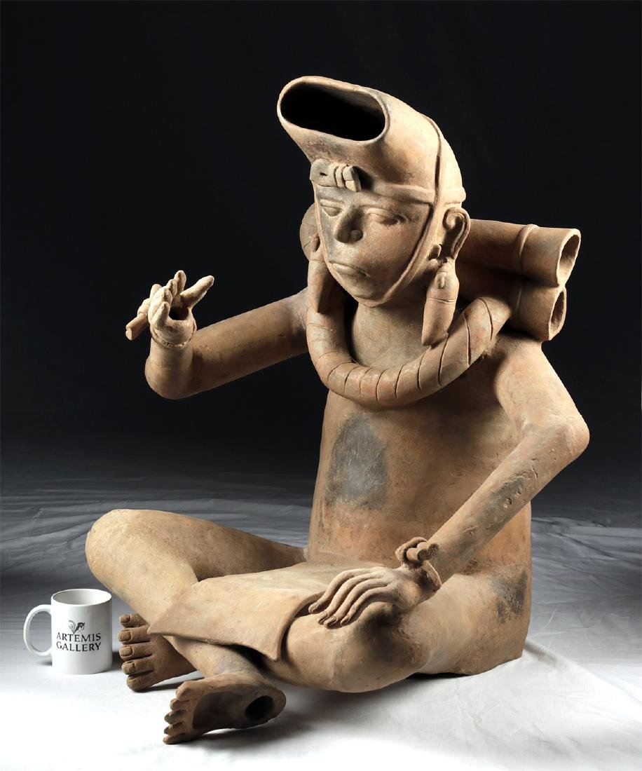 Enormous Veracruz Pottery Seated Vessel Flute w/ TL
