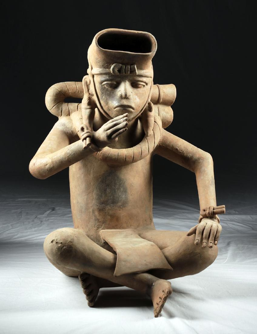 Enormous Veracruz Pottery Seated Vessel Flute w/ TL - 2