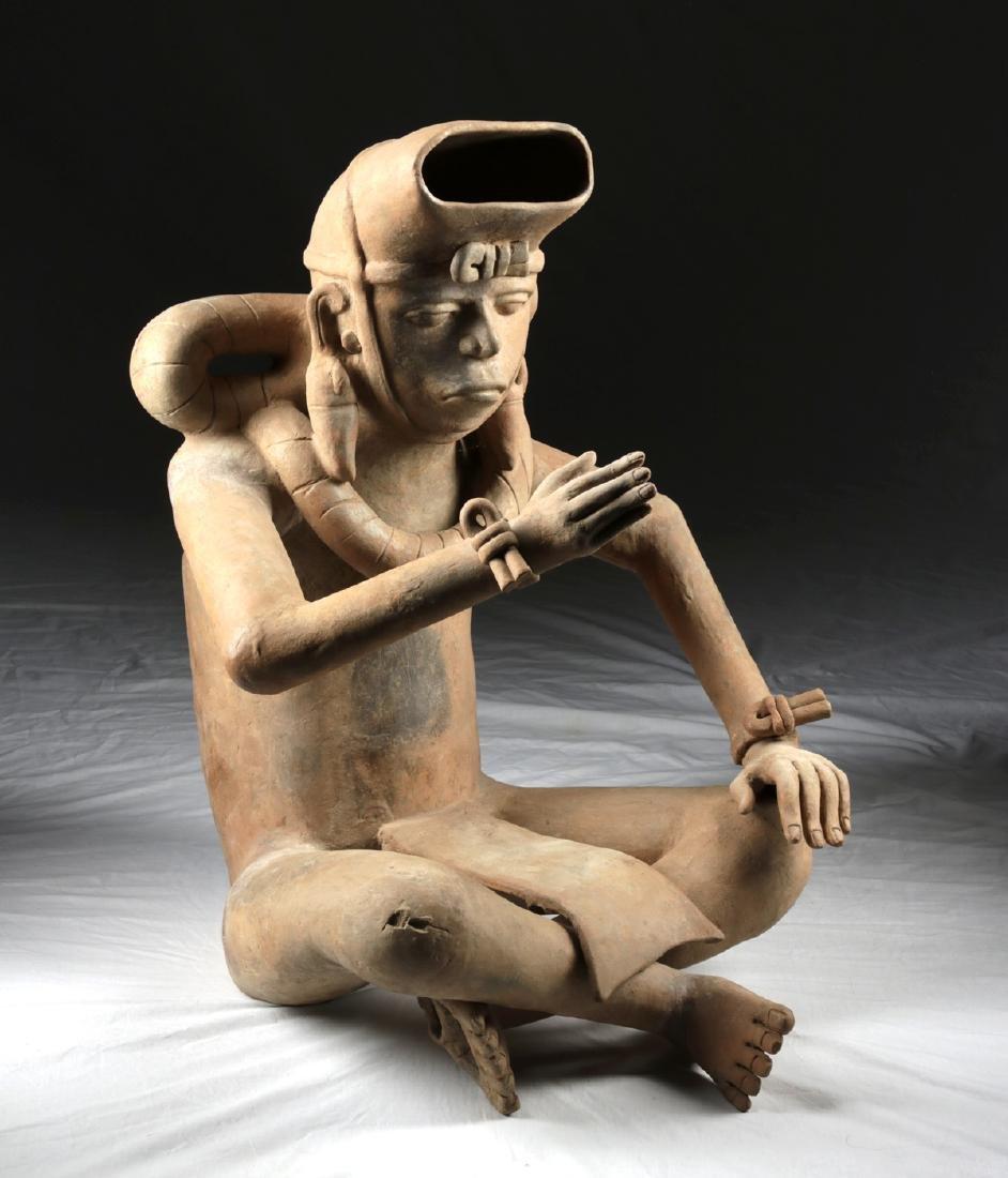 Enormous Veracruz Pottery Seated Vessel Flute w/ TL - 3