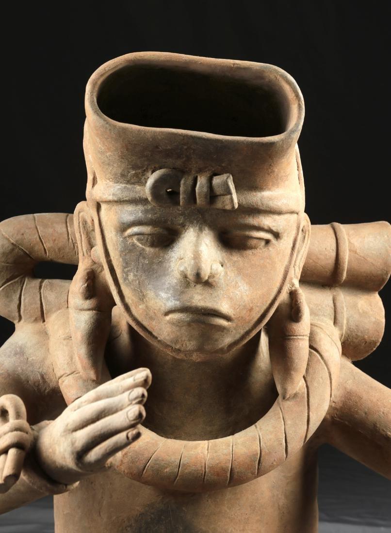 Enormous Veracruz Pottery Seated Vessel Flute w/ TL - 4