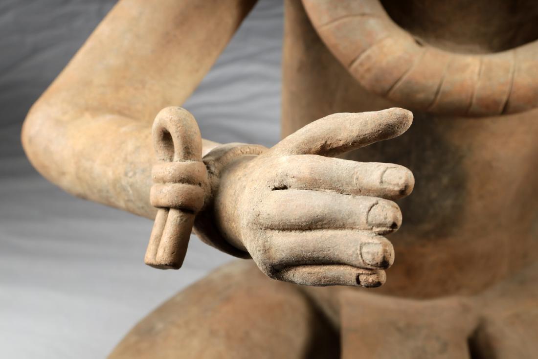 Enormous Veracruz Pottery Seated Vessel Flute w/ TL - 5