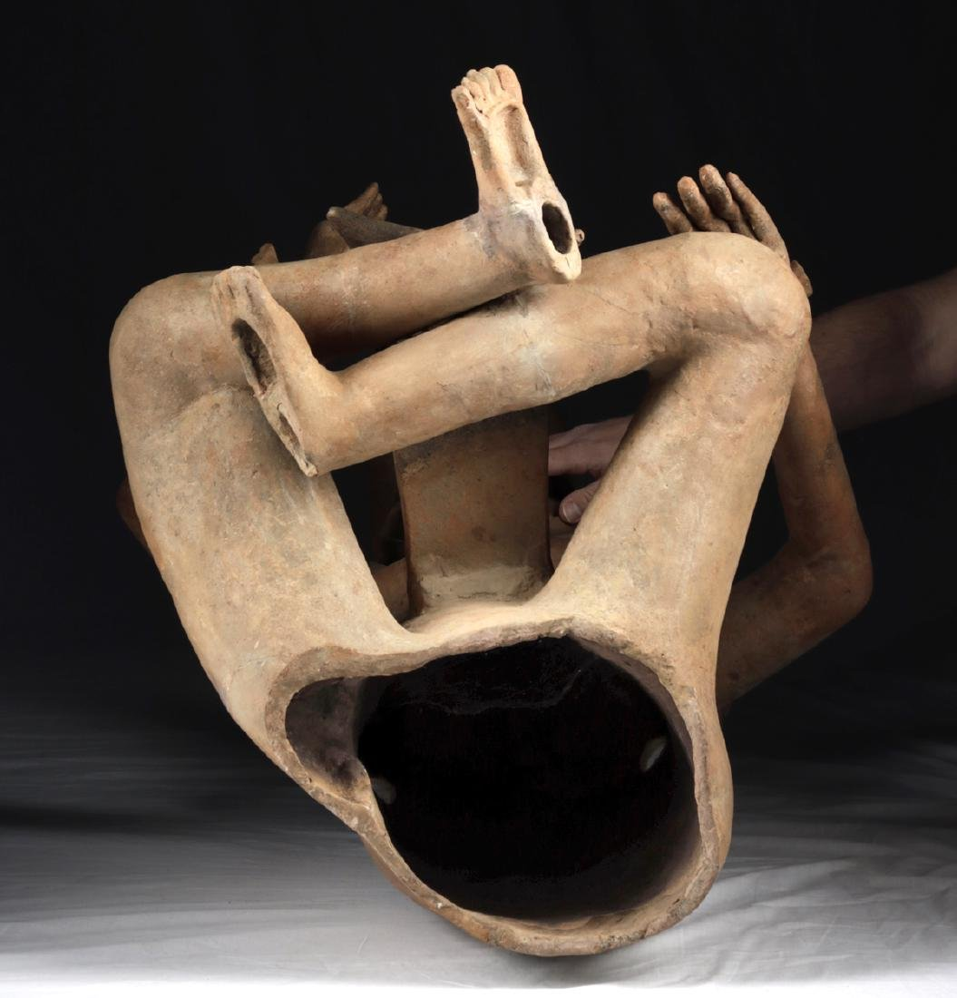 Enormous Veracruz Pottery Seated Vessel Flute w/ TL - 7