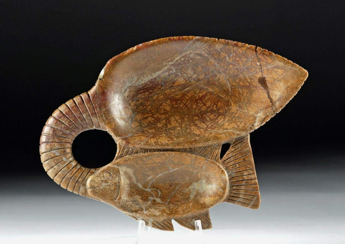 Egyptian Steatite Cosmetic Dish - Double Fish