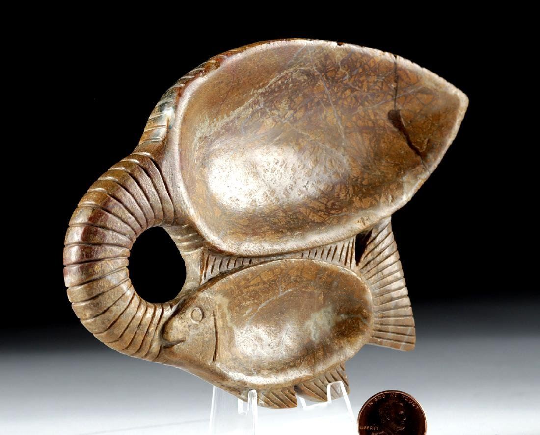 Egyptian Steatite Cosmetic Dish - Double Fish - 2