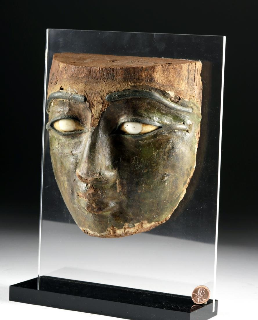 Egyptian Stuccoed Mask -Stone Eyes, Bronze Brows & Lids