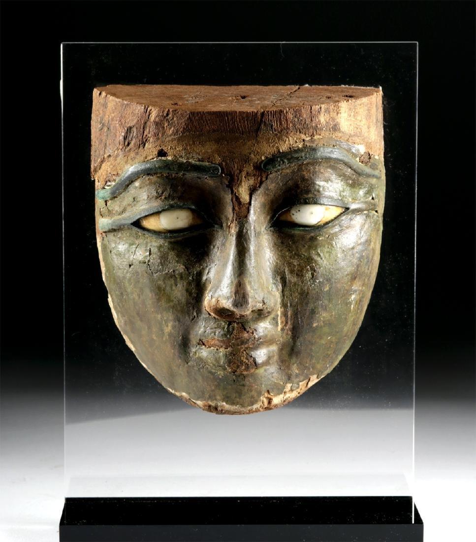 Egyptian Stuccoed Mask -Stone Eyes, Bronze Brows & Lids - 2