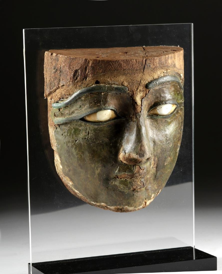 Egyptian Stuccoed Mask -Stone Eyes, Bronze Brows & Lids - 3