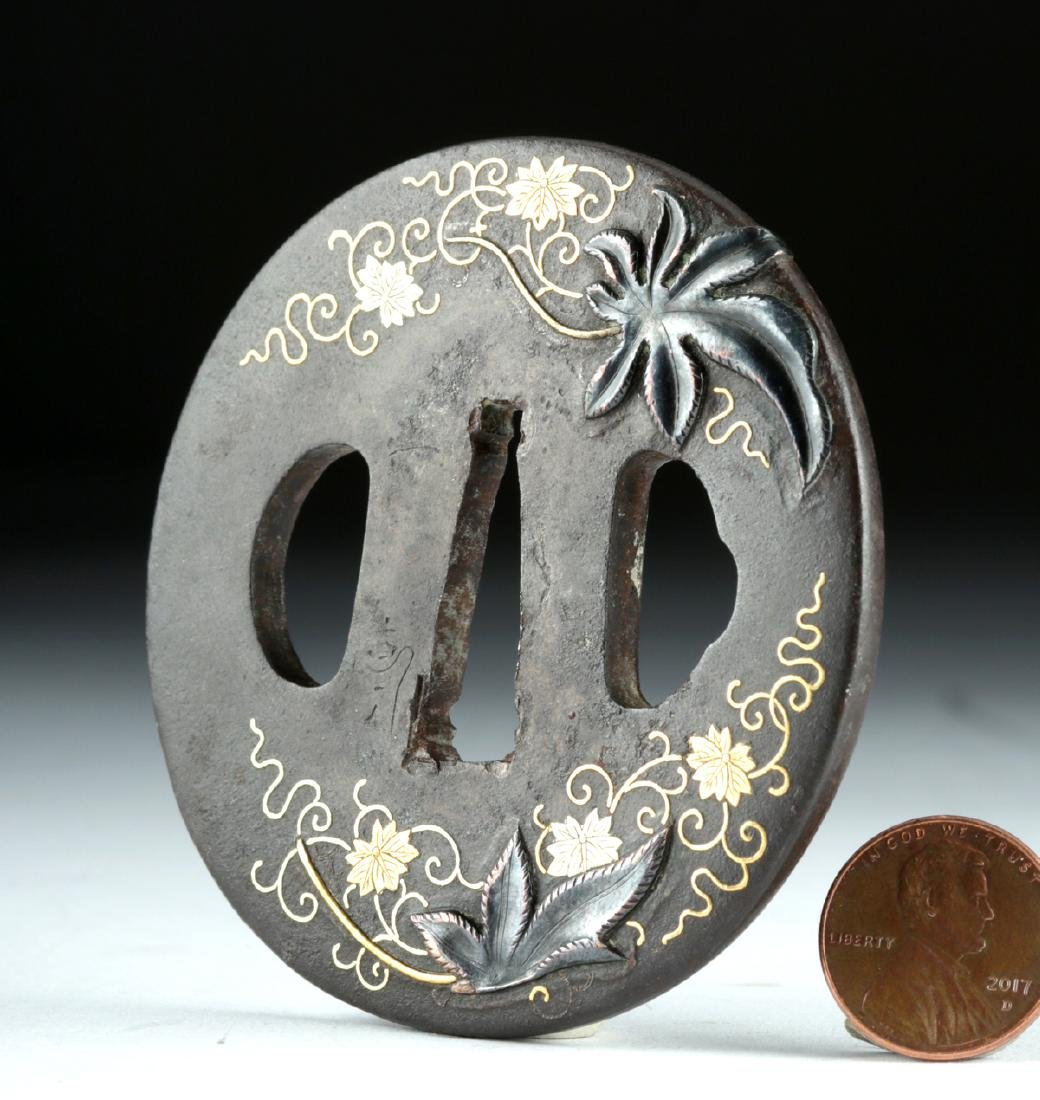 Japanese Edo Tsuba - Iron, Copper, 18K Gold
