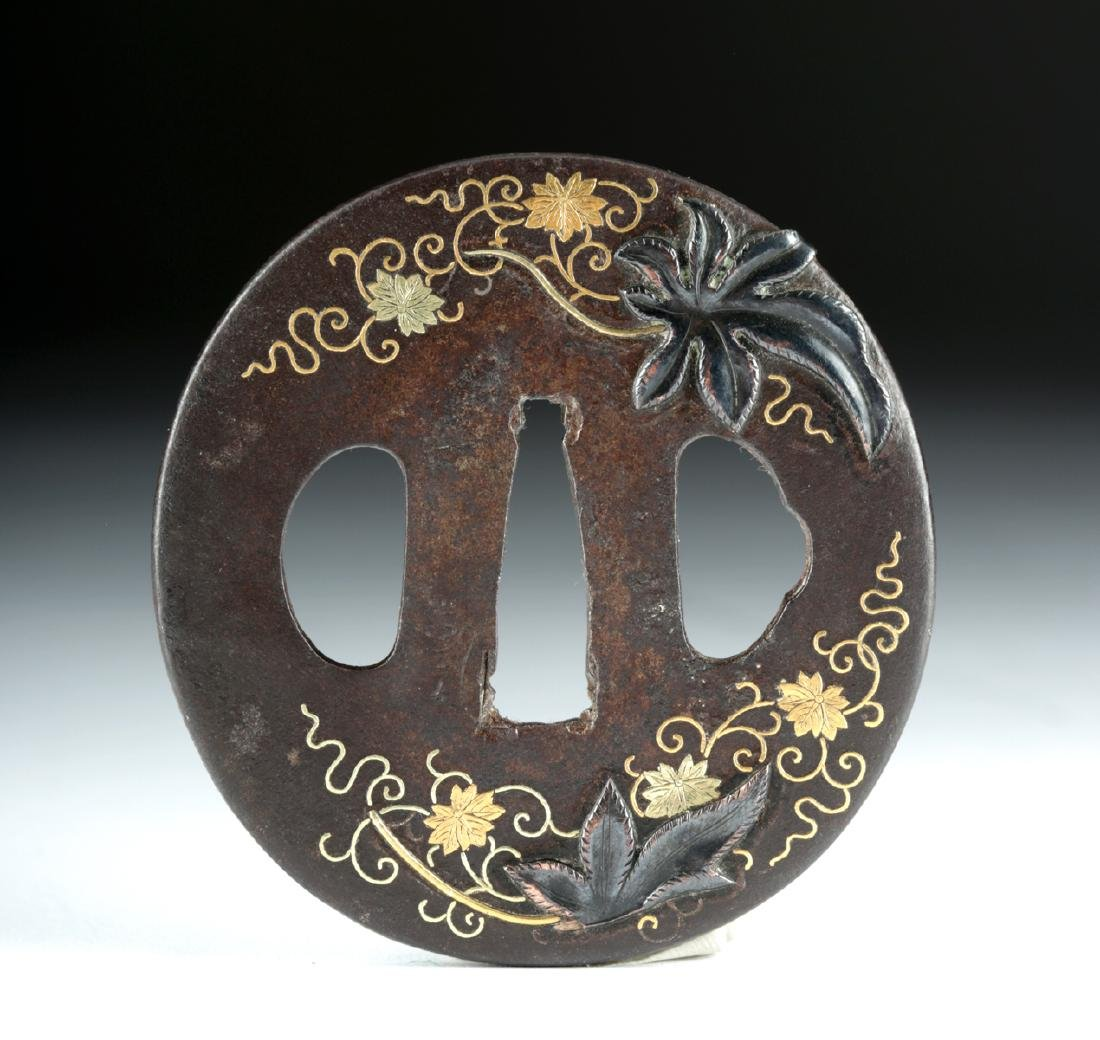 Japanese Edo Tsuba - Iron, Copper, 18K Gold - 2