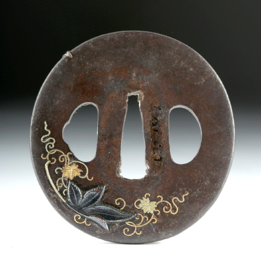 Japanese Edo Tsuba - Iron, Copper, 18K Gold - 3