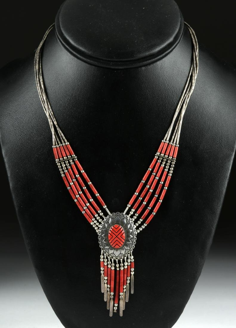 20th C. Native American Silver & Coral Necklace - 17 g