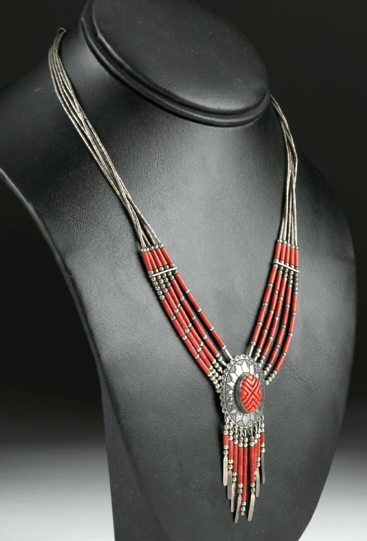 20th C. Native American Silver & Coral Necklace - 17 g - 3