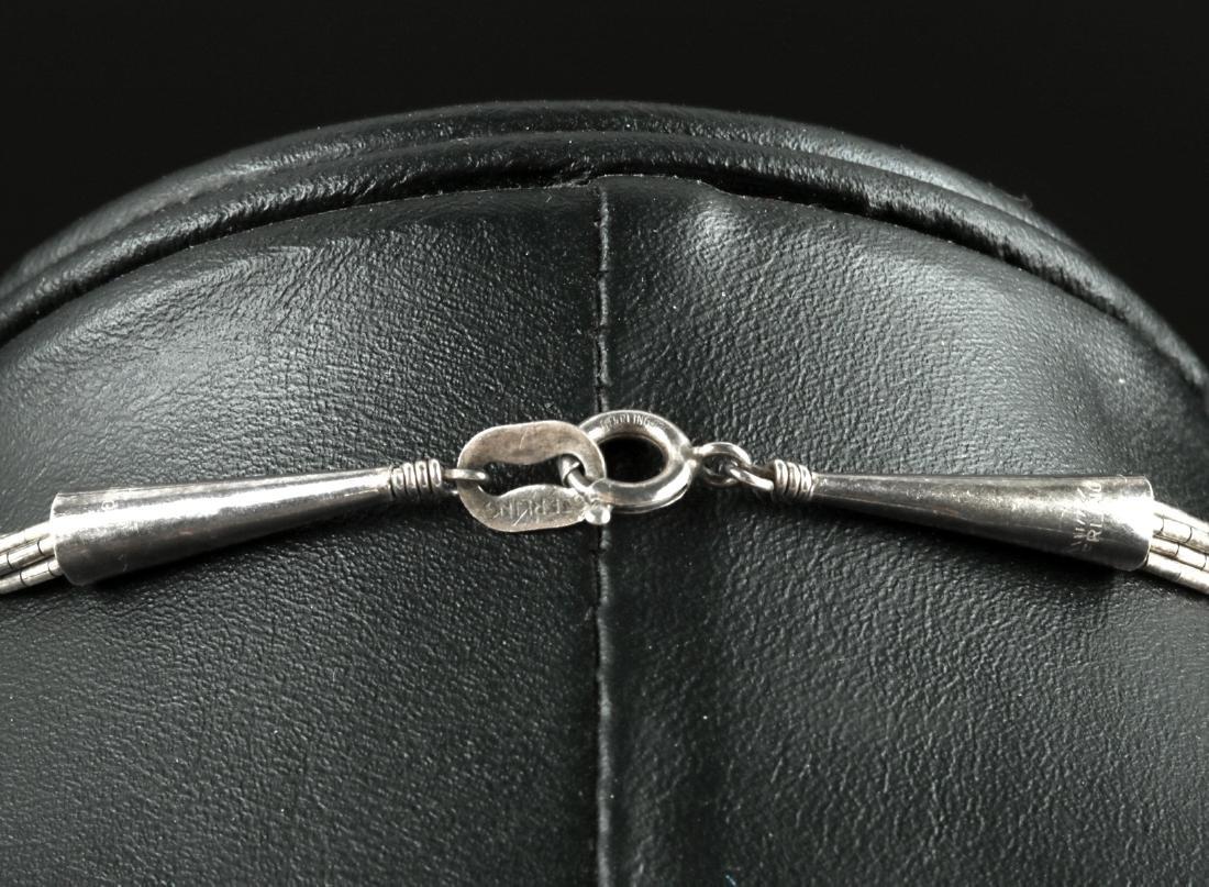 20th C. Native American Silver & Coral Necklace - 17 g - 4