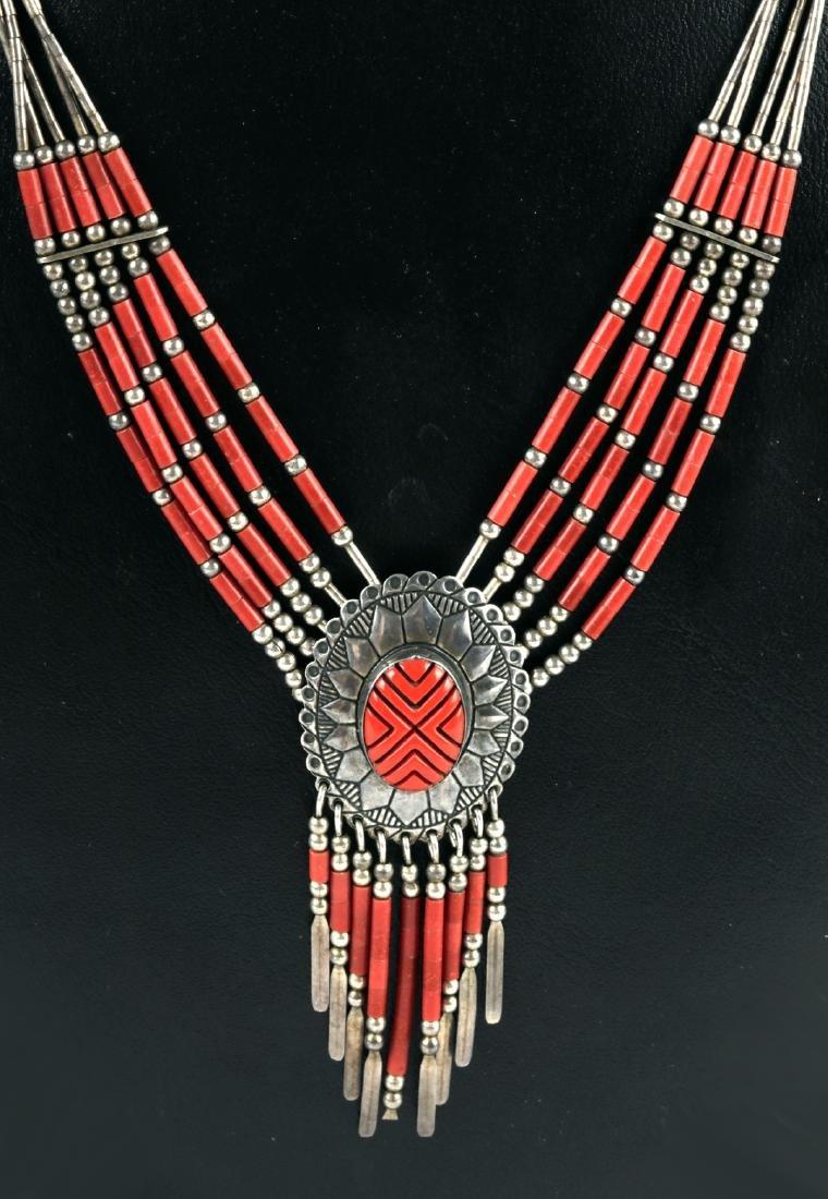 20th C. Native American Silver & Coral Necklace - 17 g - 5