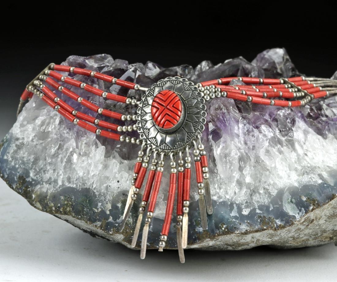 20th C. Native American Silver & Coral Necklace - 17 g - 6