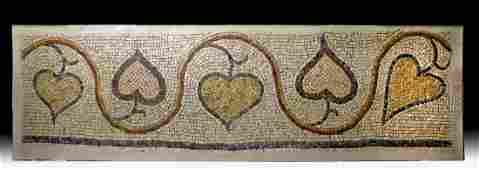 Roman Stone Mosaic of Ivy Vine - Heart-Shaped Leaves
