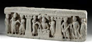 Gandharan Schist Relief w Buddha and Attendants