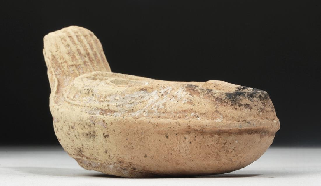Byzantine Pottery Oil Lamp - Crucifix Motif - 3