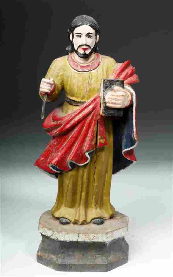 Early 20th C. Filipino Painted Wood Statue of Jesus