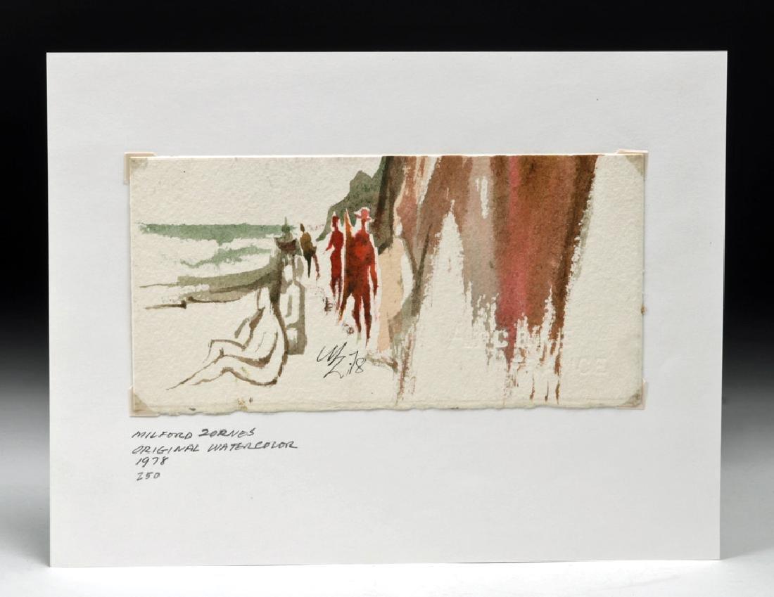 """20th C. Zornes Watercolor - """"Coastal Walk"""""""