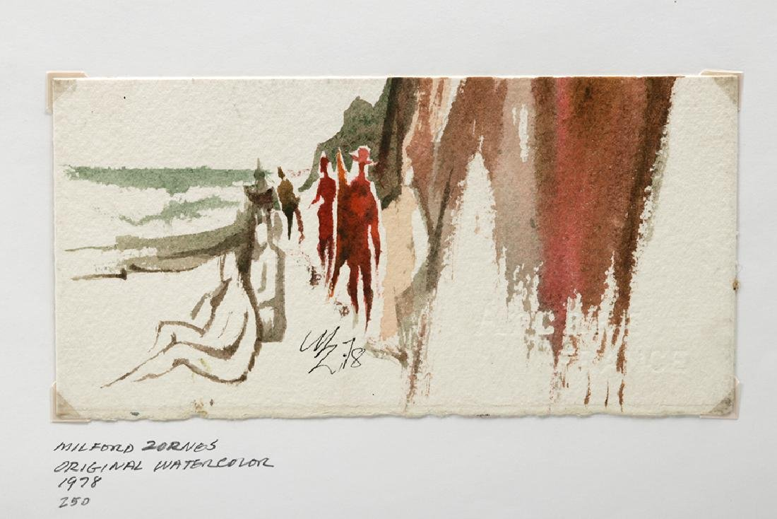 """20th C. Zornes Watercolor - """"Coastal Walk"""" - 3"""