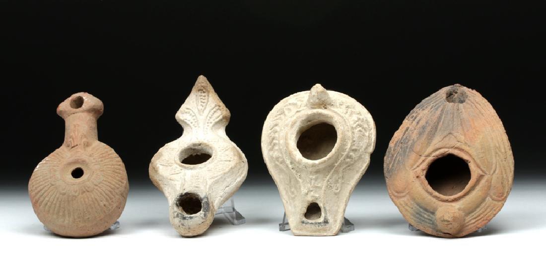 Lot of 4 Byzantine Terracotta Oil Lamps