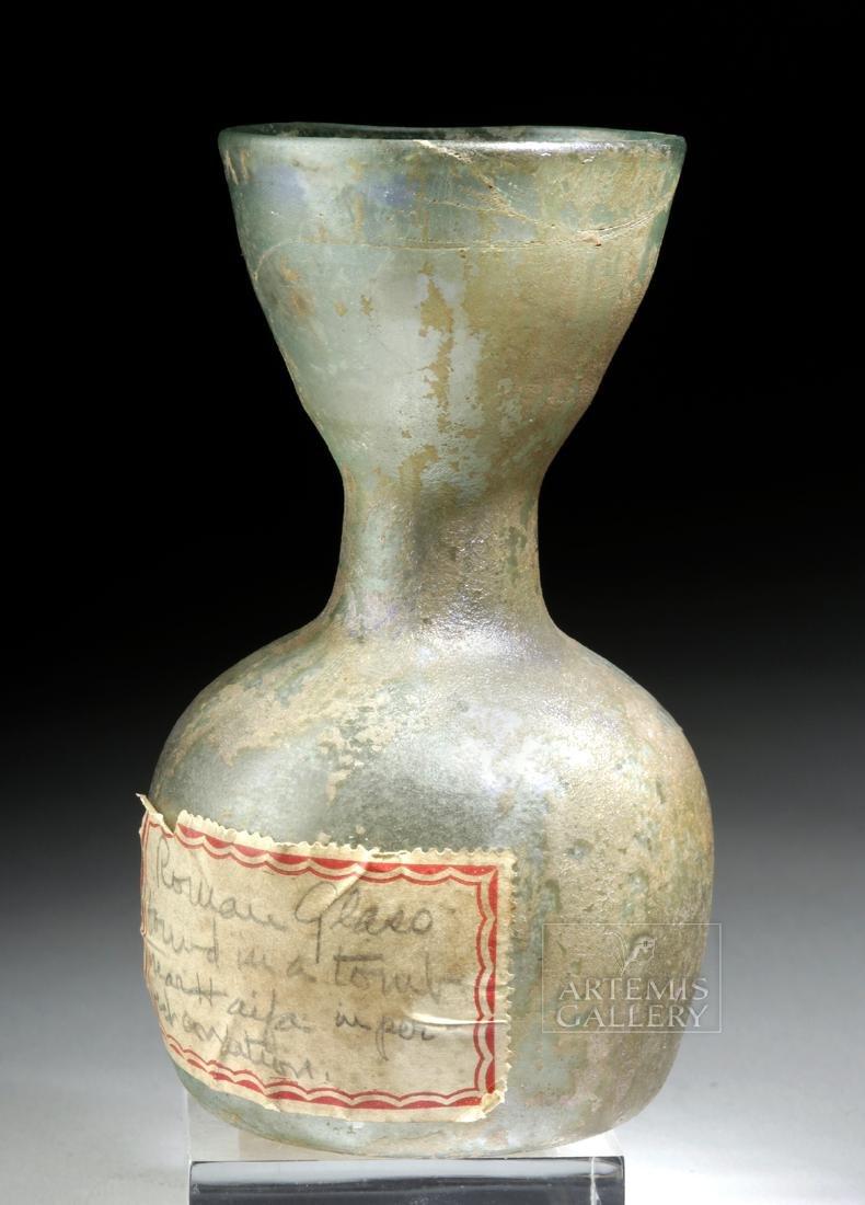 Roman Glass Bottle w/ Old Label + ex-Bonhams - 3