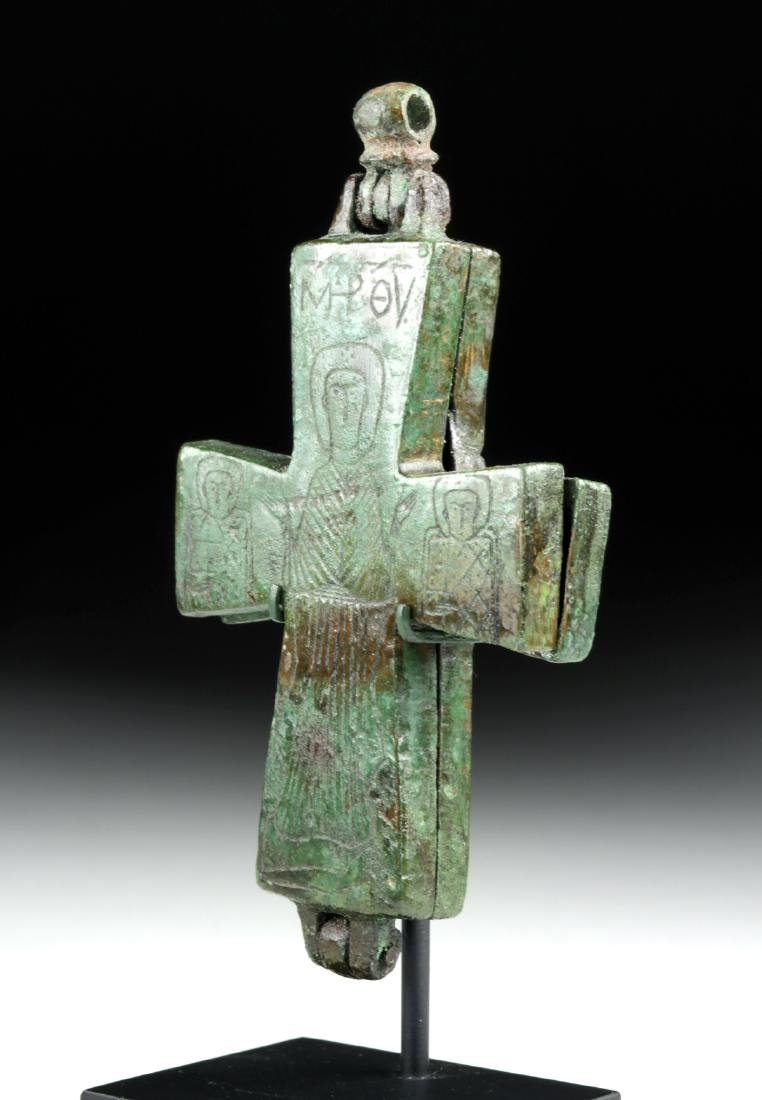 Byzantine Bronze Reliquary Cross w/ Incised Decoration - 3