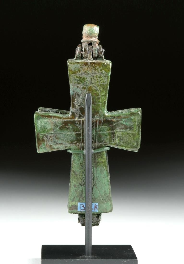 Byzantine Bronze Reliquary Cross w/ Incised Decoration - 4