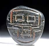 Mezcala Stone Face Pendant w Cinnabar