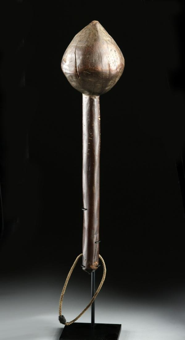 19th C. Fijian Wood Throwing Club w/ Skull & Crossbones