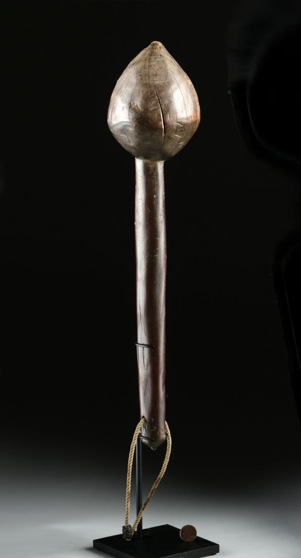 19th C. Fijian Wood Throwing Club w/ Skull & Crossbones - 2