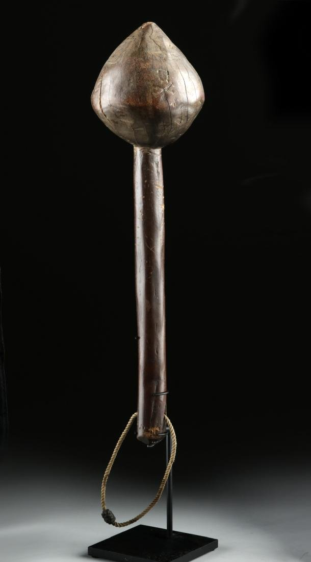 19th C. Fijian Wood Throwing Club w/ Skull & Crossbones - 3