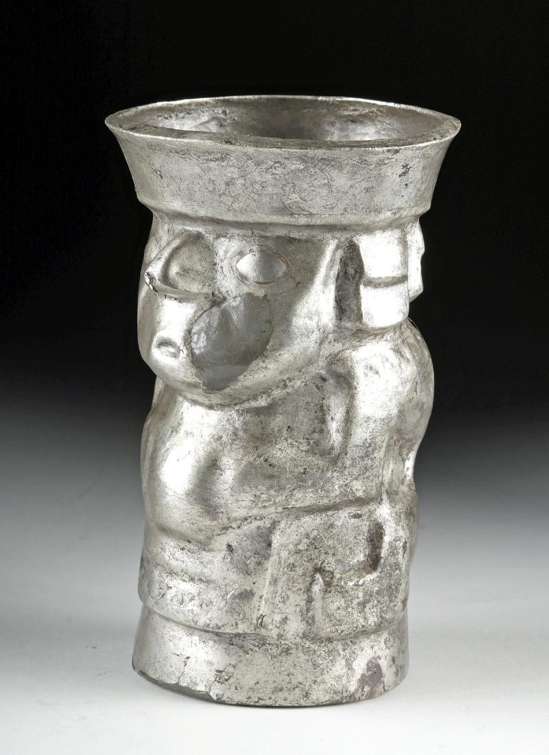 Chimu Silver Human Effigy Kero - 139.7 g