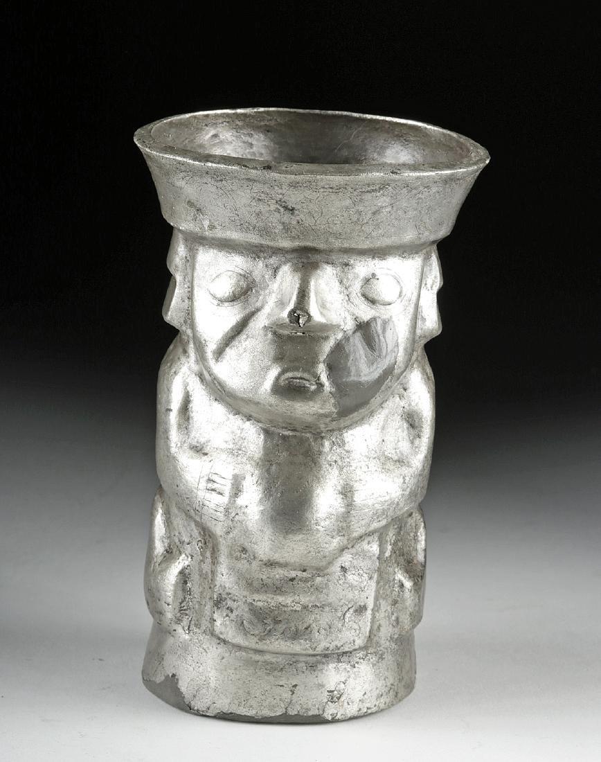 Chimu Silver Human Effigy Kero - 139.7 g - 2