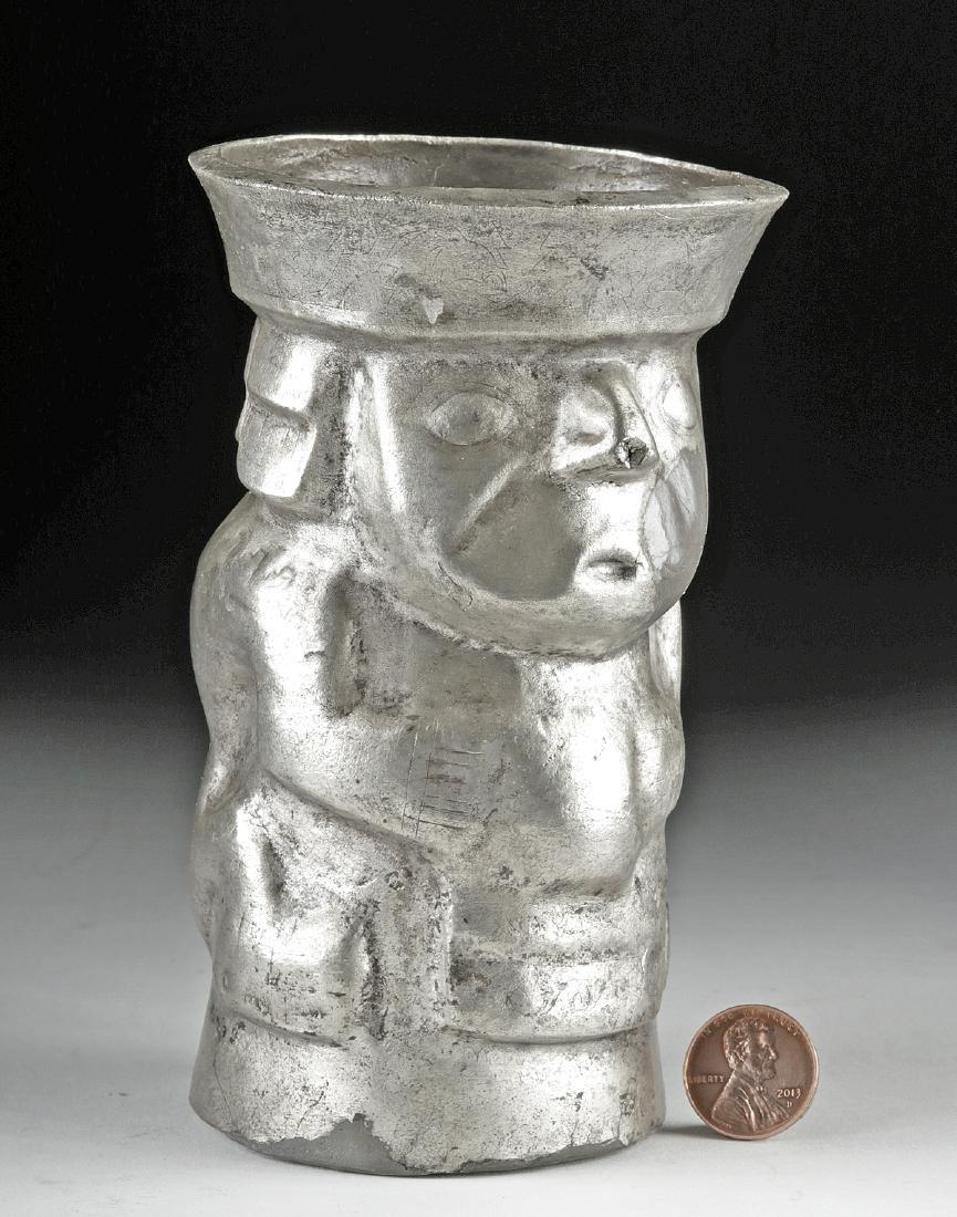 Chimu Silver Human Effigy Kero - 139.7 g - 3