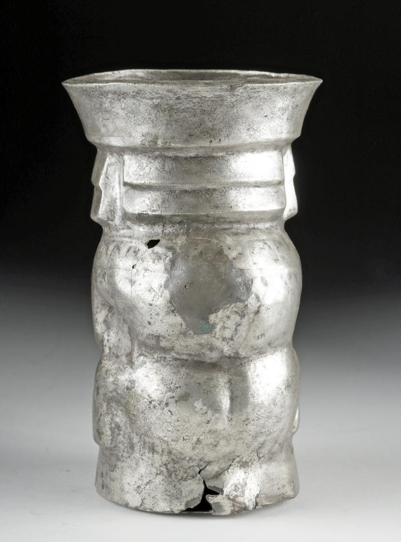 Chimu Silver Human Effigy Kero - 139.7 g - 4