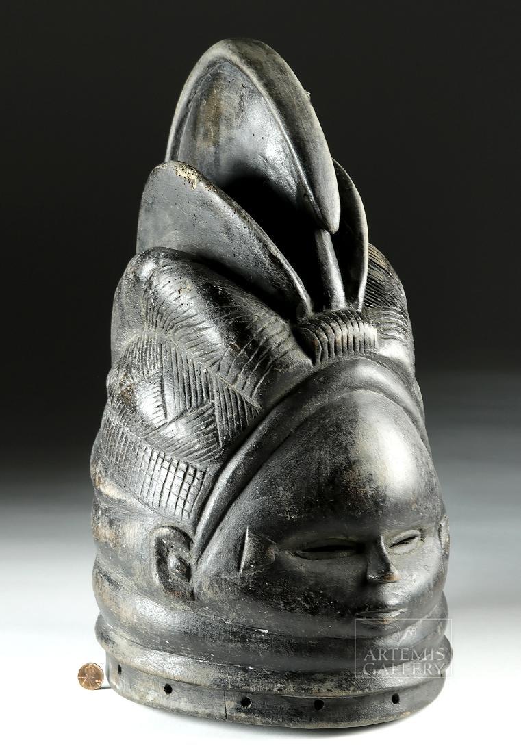 Early 20th C. African Mende Bundu Wooden Helmet Mask