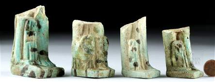 Lot of 4 Egyptian Faience Figural Statue Fragments