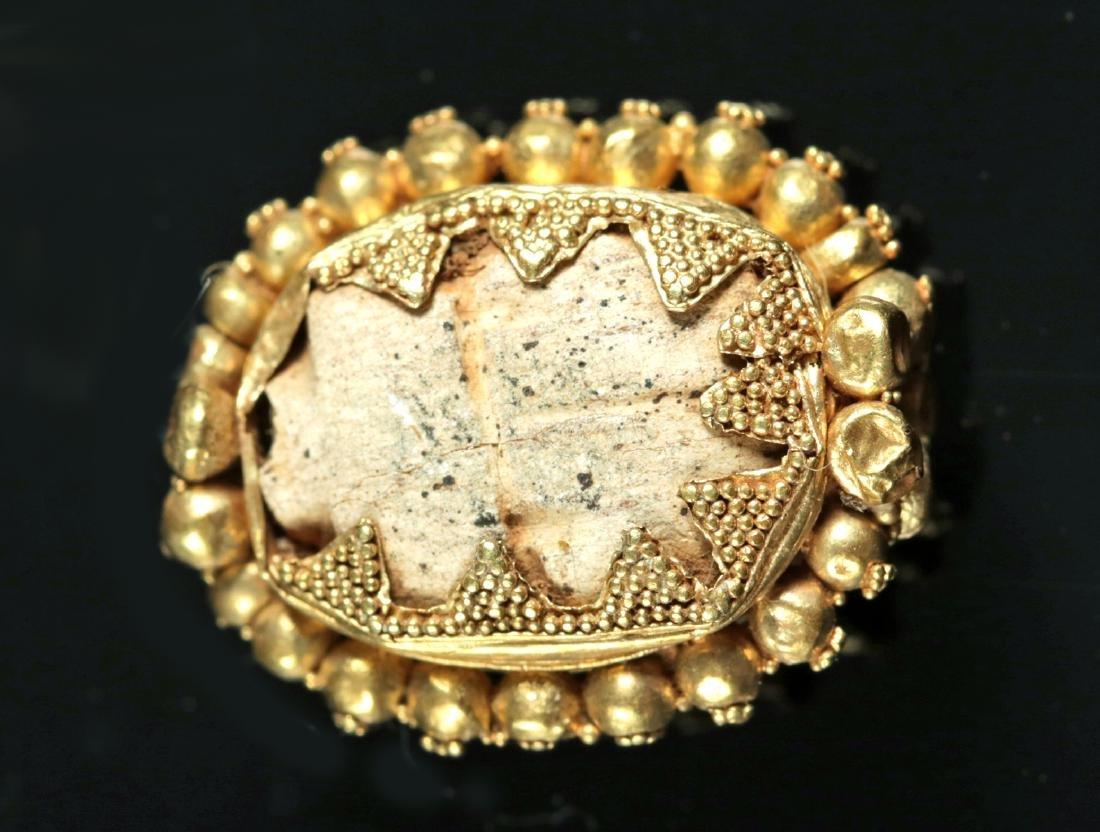 Egyptian Steatite Scarab / Etruscan 16K Gold Bezel