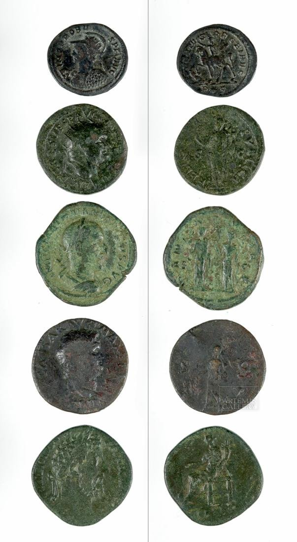 Lot of 4 Roman Imperial Bronze and 1 Silver Coins