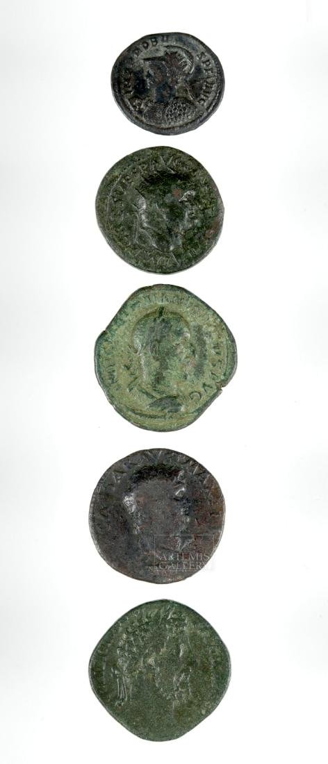 Lot of 4 Roman Imperial Bronze and 1 Silver Coins - 2