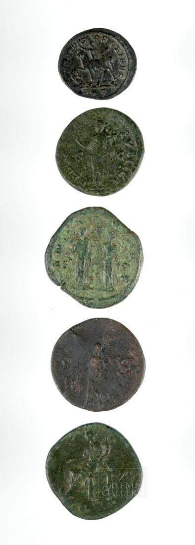 Lot of 4 Roman Imperial Bronze and 1 Silver Coins - 3