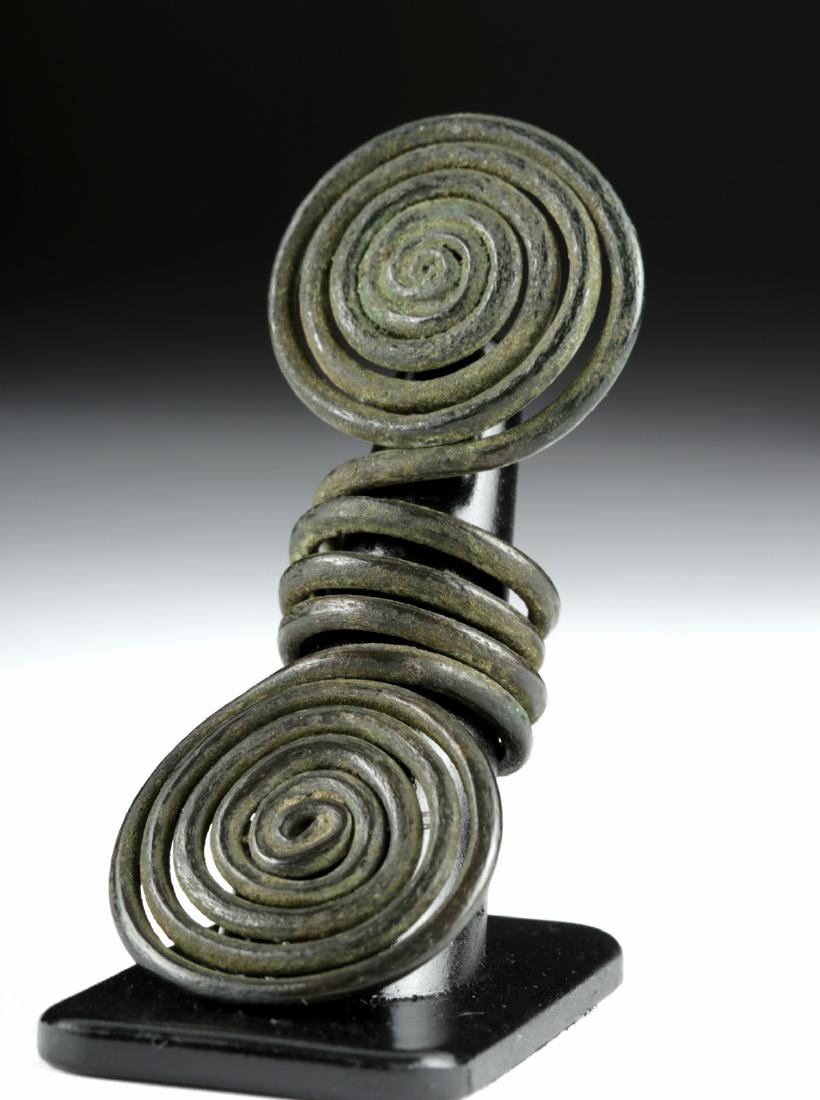 European Hallstatt Bronze Double Spiral Hair Ring