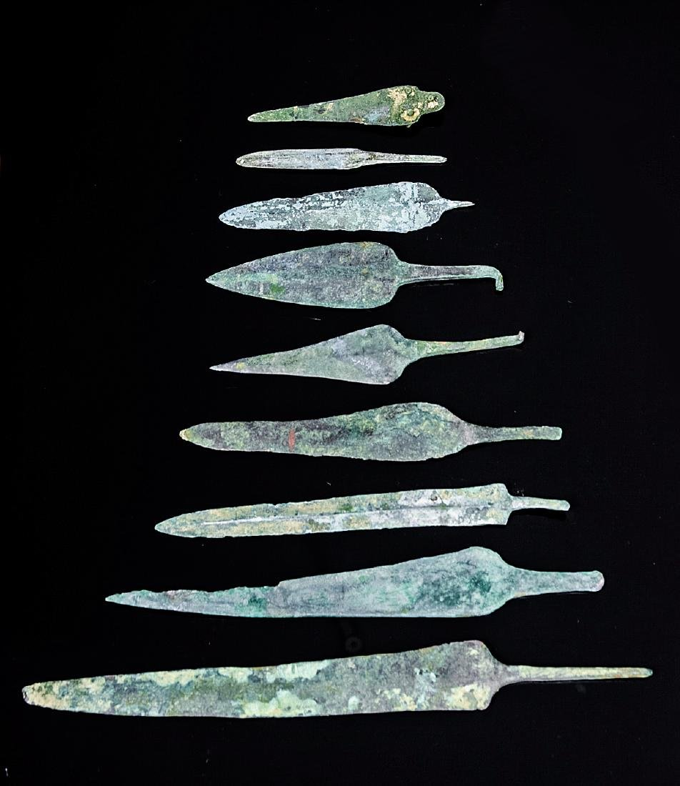 Lot of 9 Ancient Luristan Bronze Spear Points