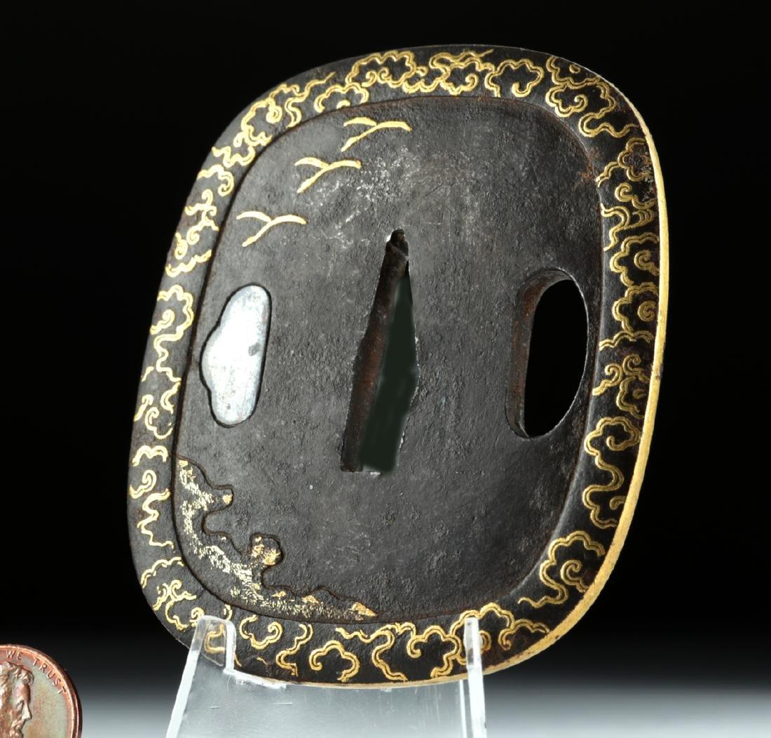 Signed 19th C. Japanese Edo Period Iron / Gold Tsuba - 3